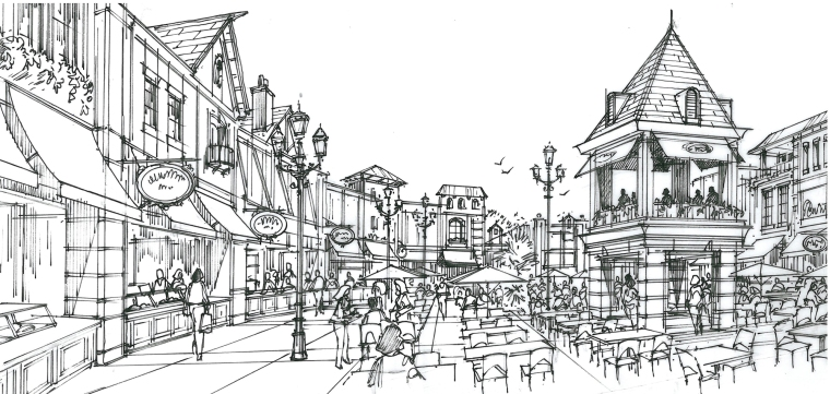 Food Court Concept Sketch-euro